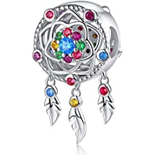 feaeeafaf Dream Catcher Charm fit Charms Bracelet 925 Sterling Silver Feathers Tassel  Bead .