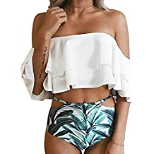2653d439a1c Women Two Piece Off Shoulder Ruffled Flounce Crop Bikini Top with Print Cut  Out .