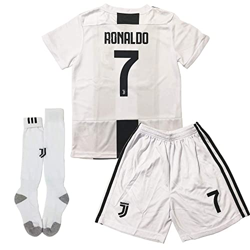 best sneakers 35c84 a9764 GLL SPORT New 2018-2019 Home Juventus #7 Ronaldo White Soccer Football  Jersey for Kids Youth Shirt Short Socks Kit