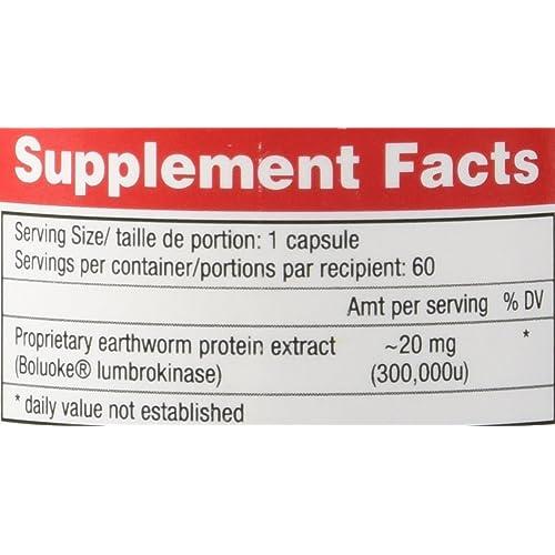 Buy Boluoke, 60 Capsules, Canada RNA, Lumbrokinase, Enzyme