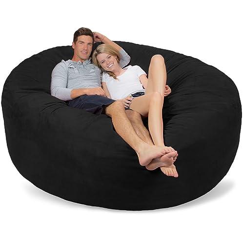 Enjoyable Buy Comfy Sacks 7 Ft Memory Foam Bean Bag Chair Black Micro Forskolin Free Trial Chair Design Images Forskolin Free Trialorg