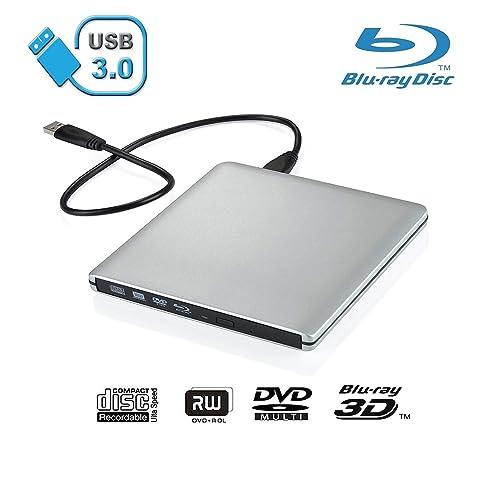 Xglysmyc USB 3 0 External Blu-ray CD DVD Drive,Portable Ultra-Thin 3D  Blu-ray Player DVD+/-RW Burner Writer Reader for Laptop Notebook PC  Desktops
