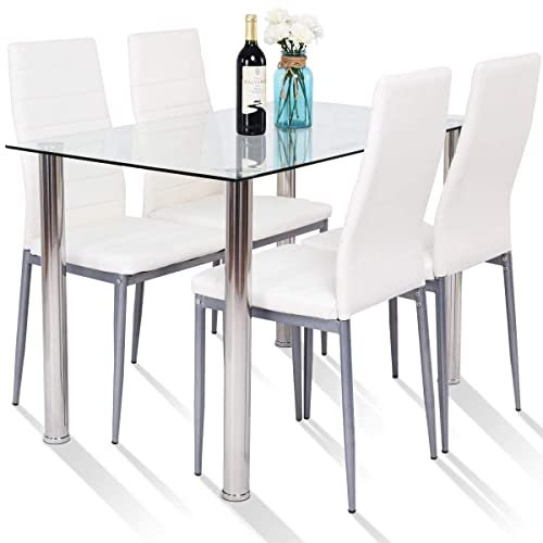 Buy Tangkula 5 Pcs Dining Table Set Modern Tempered Glass Top And Pvc Leather Chair W 4 Chairs Dining Room Kitchen Furniture White And Silver Online In South Africa B072c418hf