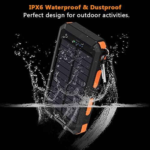 Buy Solar Charger, Hiluckey 10000mAh Waterproof Solar Power