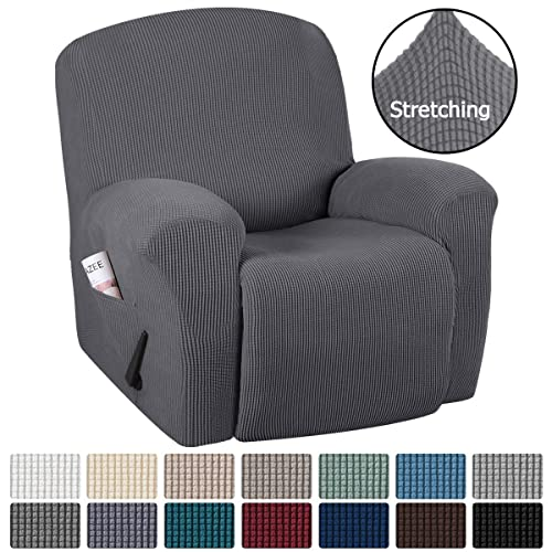 Recliner, Dove Grey H.VERSAILTEX Stretch Recliner Chair Cover 1-Piece Durable Soft High Stretch Jacquard Sofa Furniture Cover Form Fit Stretch Stylish Recliner Slipcover//Protector