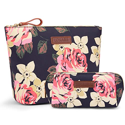 e3f0a90b9cc7 LOKASS Large Makeup Bag Small Cosmetic Pouch for Purse Handy Floral Makeup  Bags Set Cute Travel Toiletry Organizer for Women, Cosmetics, Make Up ...