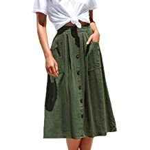 303287b37b8f Meyeeka Womens Casual High Waist Flared A-line Skirt Pleated Midi Skirt  with Pocket