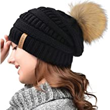 bbfedf9e14afe FURTALK Womens Slouchy Winter Knit Beanie Hats Chunky Hat Bobble Hat Ski Cap