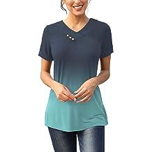 47e299f78999 KISSMODA Women's Casual T-Shirt Long Sleeve Button Cowl Neck Tunic  Sweatshirt .