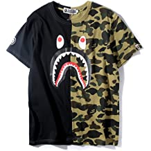 9225b12d Big Mouth Shark Ape Bape Camo Casual T Shirt Tees Unisex with Round Neck  Short Sleeve