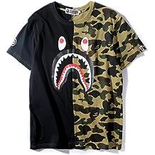 792f7608 Big Mouth Shark Ape Bape Camo Casual T Shirt Tees Unisex with Round Neck  Short Sleeve