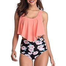 d7928c3e20 Zando Women Ruffled Flounce Strappy Bikini Print High Waisted Swimsuit Two  Piece .
