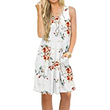 008635f336a0 AUSELILY Women's Sleeveless Pleated Loose Swing Casual Dress with Pockets  Knee .