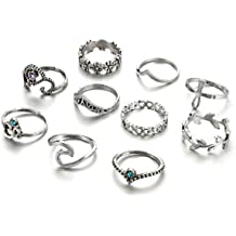 b63b8c622 Zealmer Gudukt Knuckle Ring Set Vintage Silver Crown Unicorn Elephant Yoga  Wave Religious Joint Knuckle Rings
