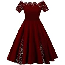 21513bd072 Rosegal Vintage Plus Size Scalloped Off Shoulder A-Line Lace Patchwork  Evening Dress