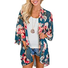 8a17fc84373 Women's Floral Kimono Cardigan Summer Loose Shawl Chiffon Beach Blouse Cover  up