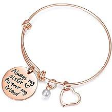 5fd40511ac9 Yolmina Inspirational Charm Bracelet Adjustable Bangle Gift for Women Girl  Sister .
