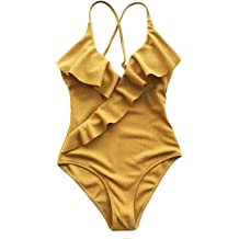 ed12eba1854 CUPSHE Women's Happy Ending Solid One-Piece Swimsuit Beach Swimwear  Bathing
