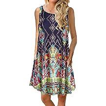 2fd4845cd13 Luranee Womens Casual Sleeveless Dresses Knee Length Tunic Dress with  Pockets