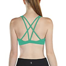 6e143ae0772 icyzone Workout Sports Bras for Women - Women's Strappy Running Yoga Bra, .