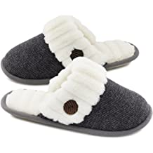 a69605445966 HomeTop Women s Cute Comfy Fuzzy Knitted Memory Foam Slip On House Slippers  Indoor