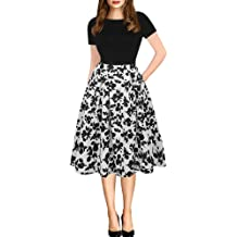 b5ff4aa899 oxiuly Women's Vintage Patchwork Pockets Puffy Swing Casual Party Dress  OX165