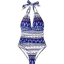 51b02053ea9 CUPSHE Women's Keep Secrets Halter One Piece Swimsuit Beach Swimwear