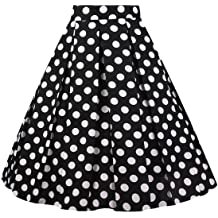 9737036a5 Girstunm Women's Pleated Vintage Skirt Floral Print A-line Midi Skirts with  .
