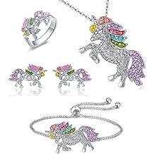 26d7f0b95 Whaline 4 Pack Unicorn Jewelry Set, Include Rainbow Rhinestone Crystal  Necklace, ... ZAR 279. Sterling Silver ...