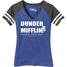 dc7aa2052a57 Comical Shirt Ladies Dunder Mifflin Paper Company Funny TV Show Game V-Neck  Tee