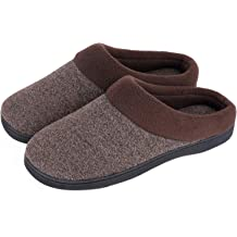 a575b519d8b5d HomeIdeas Men's Woolen Fabric Memory Foam Anti-Slip House Slippers, Autumn .